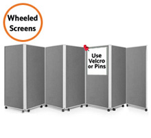 mobile display boards on wheels / castors.