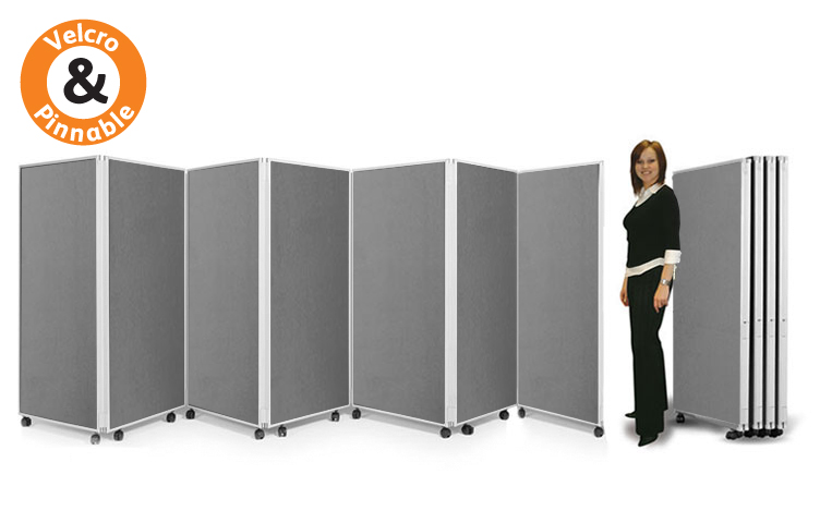 7 panel mobile partition screens 1500mm on castors. Double sided boards.