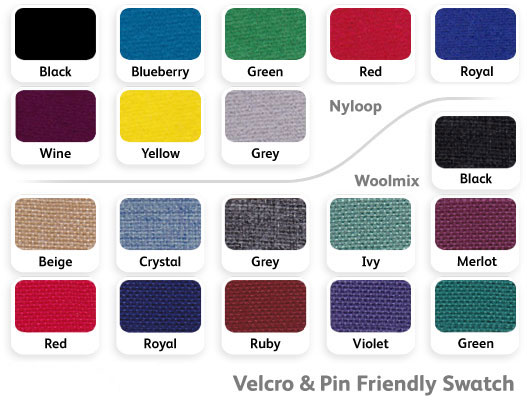 Fabric colour options for office screens.