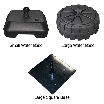 Flag base options including water filled bases