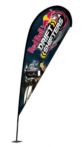 Outdoor advertising and promotional flags with choice of bases.