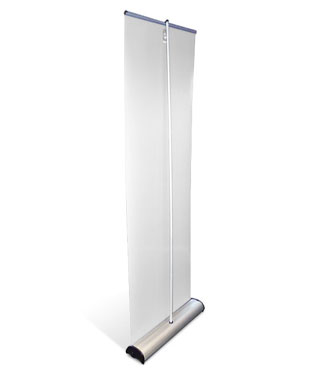 Pull-up banner stands with wide base unit for added stability