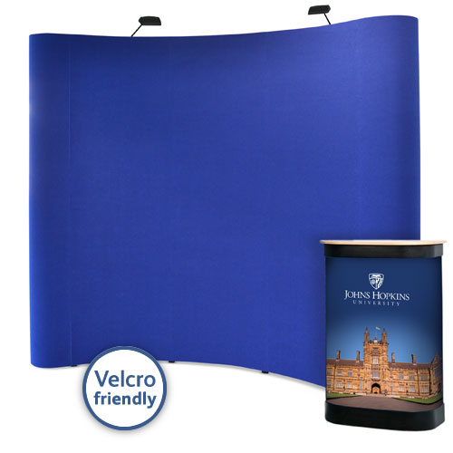 Fabric popup stands with a Velcro friendly backdrop and graphic case wrap.