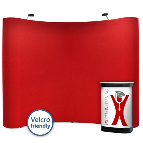 Fabric covered popup stand with a full colour graphic case wrap.