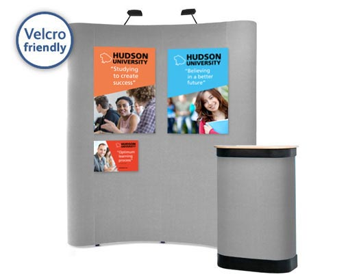 Attach posters to the popup display using hook Velcro