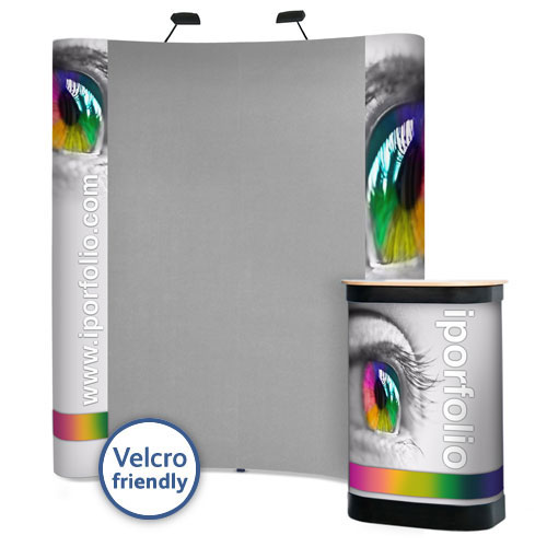 3x2 curved popup stand package with combination of Velcro friendly panels and end graphic panels.