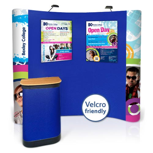 Popup stands 3x3 with mixture of Velcro friendly panels and D-end graphic panels