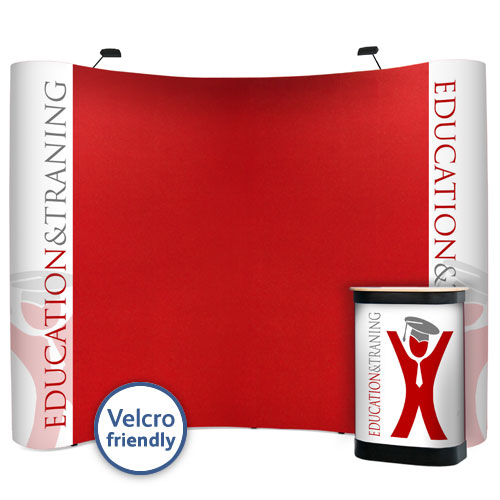 Popup kit 3x4 size with combination of graphic panels and Velcro panels.