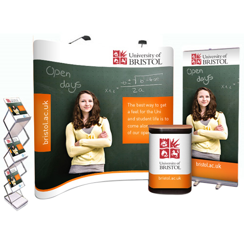 Popup bundle deal with 3x3 curved stand, pullup banner and leaflet holder