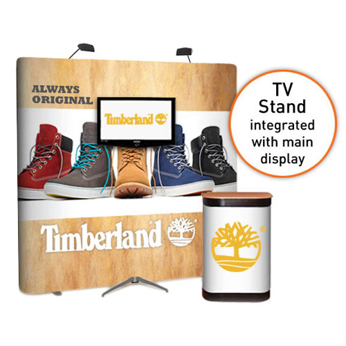 RAL Display: 3x3 straight popup stands with TV stand for large screens (32 to 50 inch)