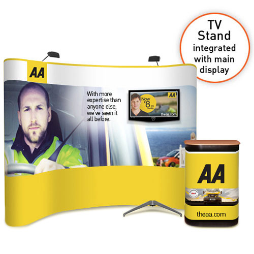"3x4 curved popup stand with integrated large monitor / TV (32 to 50"")"