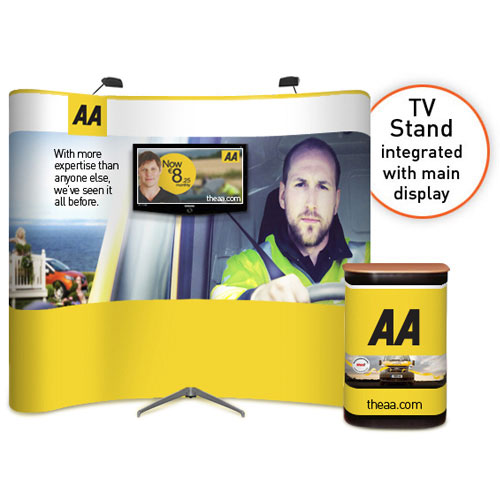 Exhibition Stand With Tv : Curved popup with tv stand quot to ral display