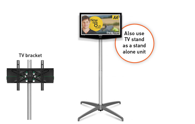The free standing TV mount can be used as a stand-alone feature or integrated into the popup