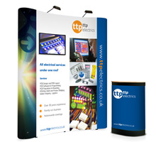 "3x2 Curved Popup Stand with TV Mount (Up to 22"")"
