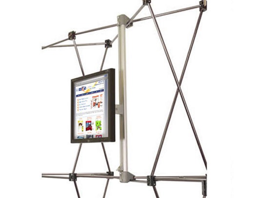 Integrated TV mount for popup stand frames