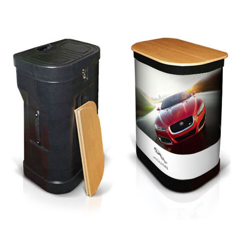 Popup stand shuttle case that turns into a podium