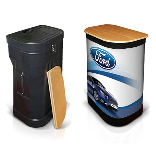 Wheeled popup stand case converted to a podium with graphic wrap and folding tabletop