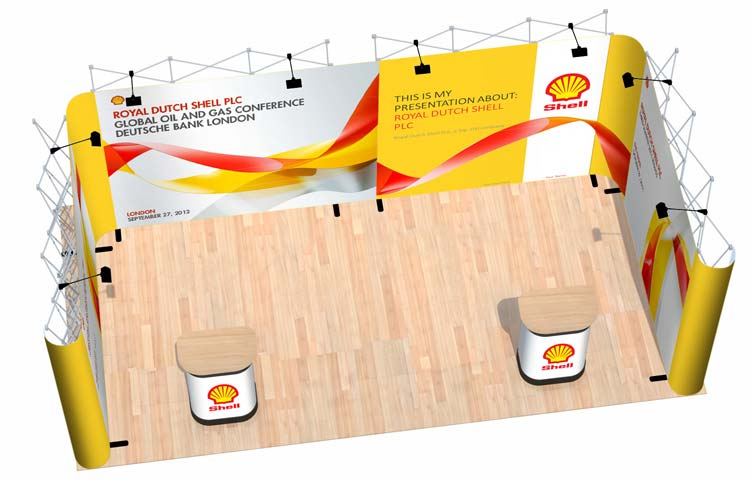 A portable exhibition stand for 3m x 6m areas