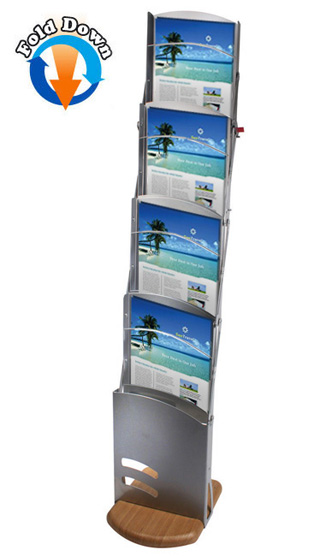 Andes A4 portable brochure stand with wooden base and 4 pockets.