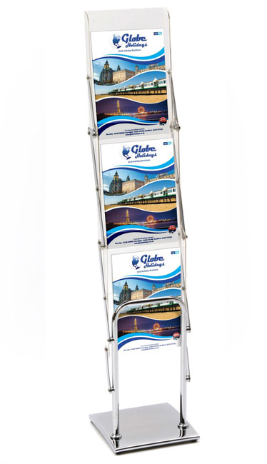 Euro ST A4 portrait brochure stand with chrome base