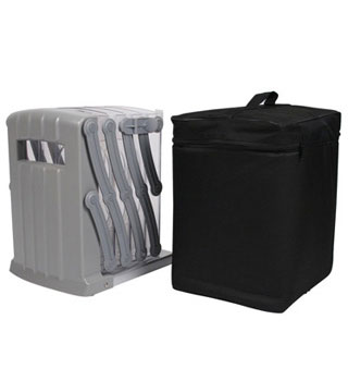 Padded carrying bag included with portable brochure stands.