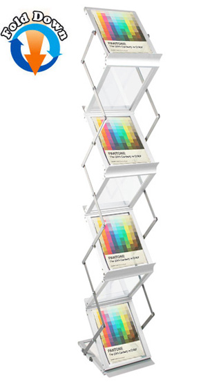 Z-stand A5 folding brochure holders with 7 pockets | Portable stands