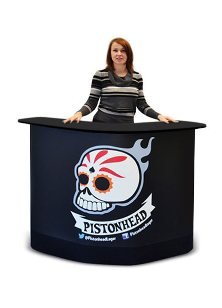 Large exhibition counter with full colour wrap-around graphic.