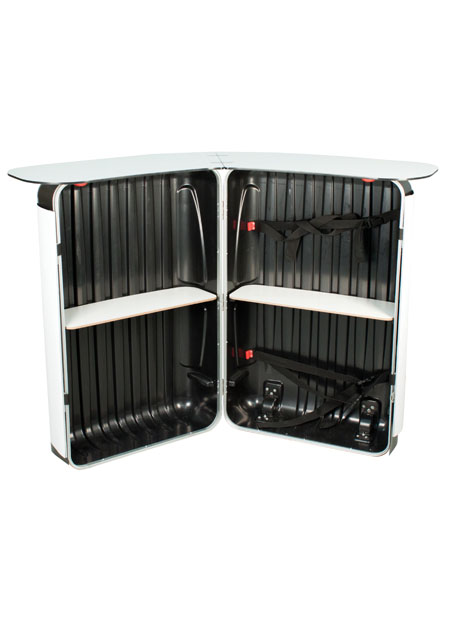 Includes two rear storage shelves