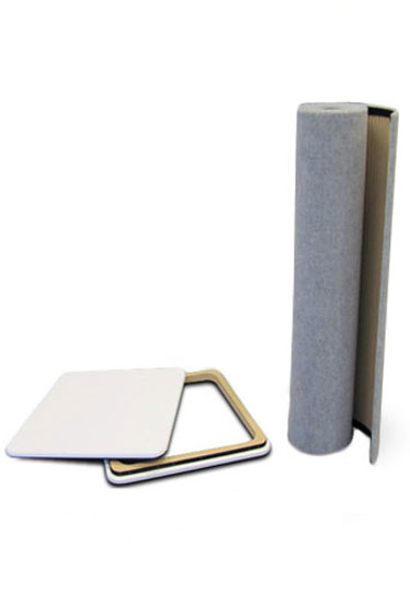 Portable plinths are supplied in 3 easy to transport sections - worktop, base and Velcro friendly MDF tambour wrap.