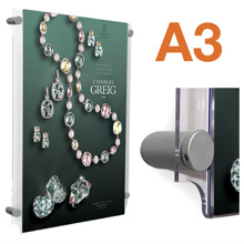 Wall Mounted A3 Poster Pockets with SATIN SILVER Stand-offs