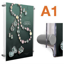 Wall Mounted A1 Poster Pockets with SATIN SILVER Stand-offs