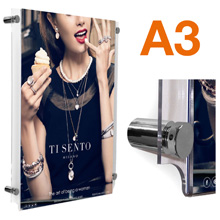 A3 Wall Mounted Poster Frames POLISHED CHROME Stand-offs