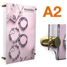 A2 Wall Mounted Poster Pockets BRASS Stand-offs