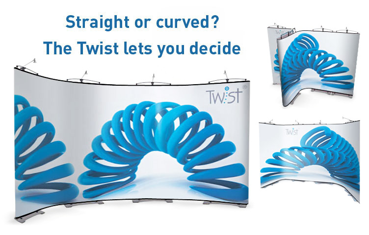 Create curved or straight lines with the 7 panel Twist Banner System.