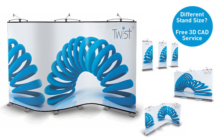 Create curved or straight lines - You decide with the unique Twist display stands!