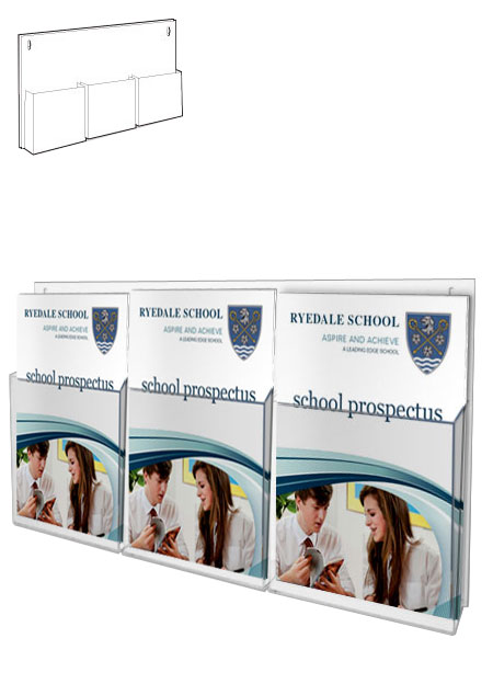 3x A4 Portrait Pockets | Wall Mounted Leaflet Holders