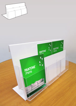 Counter standing leaflet holders with 6 x A5 portrait pockets over 2 tiers.
