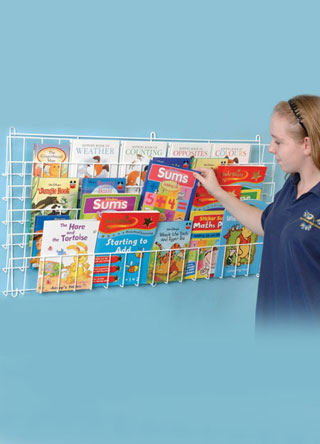 A robust horizontal wire wall mount book rack, ideal for hospitals and schools. Holds up to 36 books.