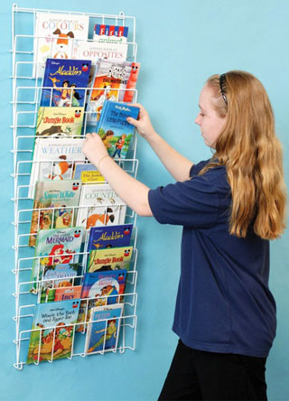 A vertical wire book rack made from plastic coated steel. Hygienic wipe clean construction for hospitals and schools.