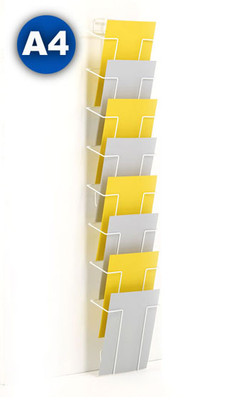 Wire wall mounted A4 8 pocket leaflet holders, popular with hospitals and schools.
